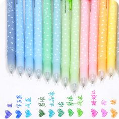 Colorful Pens / Cute Kawaii Ballpoint Pens / Ballpens / Stationery / Stationary / School Supplies / Office Supplies / Fine Point / 12 Colors