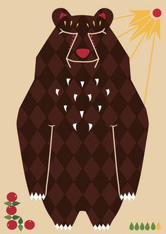 Folkore bear postcard illustration #lingonberry #bear #teresebast