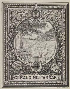 Bookplate Geraldine Farrar engraved by G.M. McCall (1911) [Geraldine Farrar (1882–1967) was an American soprano opera singer and film actress]