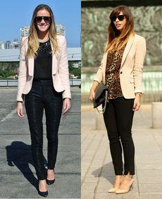 05_Looks de trabalho_looks femininos_Looks para entrevista de emprego_Calça preta_blazer bege_blusa de oncinha