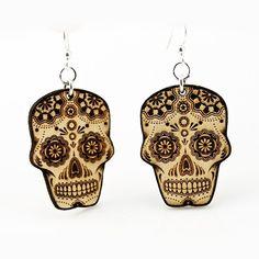 Sugar Skulls Earrings by Green Tree Jewelry (Natural) #InkedShop #skulls #sugarskull #earrings #style #fashion