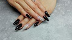 #fakenails #black #crystals #coffin