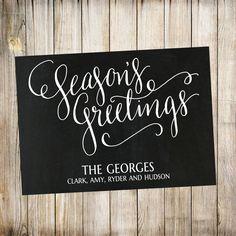 Season Greetings Chalkboard Christmas Card, Holiday Card, Christmas Greeting Card, Cards, Printable by ThePaperTrailCo on Etsy https://www.etsy.com/listing/205227868/season-greetings-chalkboard-christmas