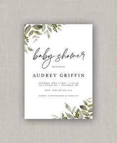 Greenery Baby Shower Invitation | Etsy Birth Announcement Template, Baby List, Color Correction, High Quality Images, Photo Cards, Baby Shower Invitations, All The Colors, Rsvp, Greenery