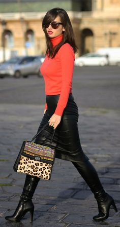 Coral Fitted Turtleneck with black leather boots and skirt