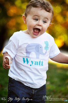 1st Birthday Elephant Onesie - Toddler Tee also available - Personalize with any Name. $17.00, via Etsy.