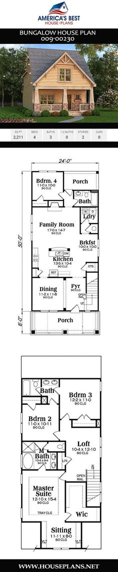 Get acquainted with Plan 009-00230, a narrow Bungalow house plan offering 2,211 sq. ft., 4 bedrooms, 3 bathrooms, a loft, an open concept, a sitting room, and 9-foot ceilings on the main floor. Build My Own House, English Country Decor, Open Living Area, Cute Cottage, Bungalow House Plans, Barndominium, Classic House, Cottage Homes, Sustainable Design
