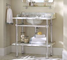 Apothecary Single Sink Console | Pottery Barn | Furnishing Frugally | Look For Less | Apothecary Bathroom