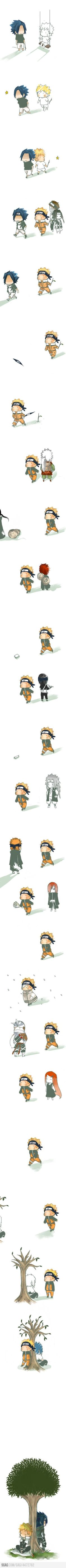 Aww. This depicts Naruto's struggle perfectly. I hate Sasuke for leaving my baby alone. But I love him… Mostly for his chicken-butt hair and flawless skin.