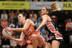 Bec Bulley of the Giants wins the ball under pressure from Shae Brown of the Magpies during the Super Netball Major Semi Final match between the Giants and the Magpies at Sydney Olympic Park Sports Centre on June 3, 2017 in Sydney, Australia.