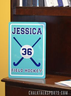 Field Hockey Gift Ideas. Personalized Field Hockey Room Sign exclusively from ChalkTalkSports