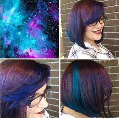 Para quem quiser tentar fazer um cabelo estilo Galaxy, aposte nos tons de roxo e azul, que são os mais comuns entre o estilo Galaxy.