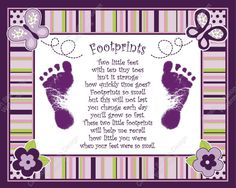 Sugar Plum Baby's Footprint with Poem in Baby, Keepsakes & Baby Announcements, Other Baby Keepsakes Baby Crafts, Crafts For Kids, Little Footprints, Footprints Poem, Baby Scrapbook Pages, Pregnancy Scrapbook, Kids Scrapbook, Footprint Crafts, Baby Album