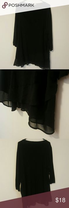 Maurices black top 3/4 sleeve Tiered bottom hem Very soft Maurices Tops
