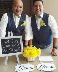 """Hector and Francis were introduced to each other via their good friend Alejandro P years ago. On August 6th 2016 they were married at the Toronto Civic Center. The newlyweds love to travel and have been all over the world together. Whenever they're really happy they say """"Wiii""""  Psst....Their wedding hashtag was #MrnMrWiii  Congratulations to the grooms!  Photographer: Julio Barillas  #GayWeddingIdeas #LoveWins"""