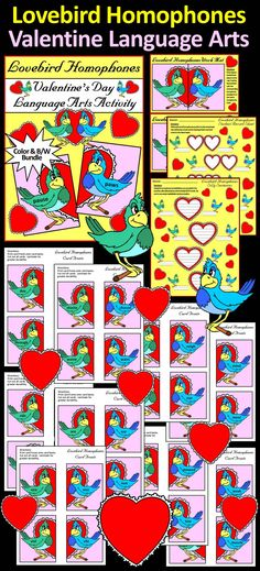 Lovebird Homophones Valentine's Day Language Arts Activity Packet : Give your students a fun and festive way to learn all about the phonics of homophones.  Contents Include: * Student Work Mats * Student Record Sheet * Silly Sentence Record Sheet * Valentine's Day Lovebird Homophone Cards (96 Pairs) * Card Back Template   #Valentines #Day #Language #Arts #Homophones #Activities #Teacherspayteachers