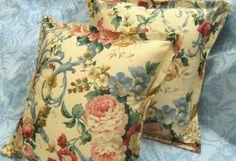 "2 -Custom SQUARE Pillow Shams 16""x 16"" - Ralph Lauren IVORY FLORAL"