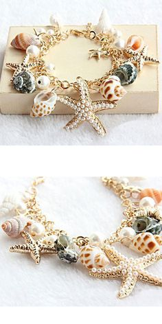 At the shell pearl inlaid by hand every one Stack together.It is the necessary bracelets which going to the beach in summer! Starfish Bracelet, Beach Bracelets, Cute Bracelets, Fashion Bracelets, Summer Accessories, Wedding Accessories, Jewelry Accessories, Fashion Accessories, Pattern Ideas