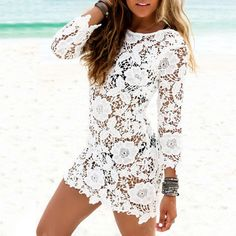 White Backless Beach Bikini Cover Up Summer Half Sleeve Mini Floral Lace Dress #White#Floral #Backless