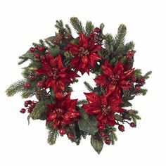 """Nearly Natural 24"""" Poinsettia & Berry Wreath"""