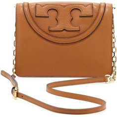Tory Burch All T Pebbled Crossbody Bag ($325) ❤ liked on Polyvore featuring bags, handbags, shoulder bags, bolsas, leather crossbody, leather shoulder bag, brown crossbody, leather handbags and brown leather purse