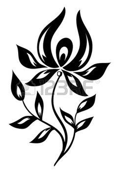 Isolé Fleur Noir Et Blanc Clip Art Libres De Droits , Vecteurs Et Illustration. Image 17665939.