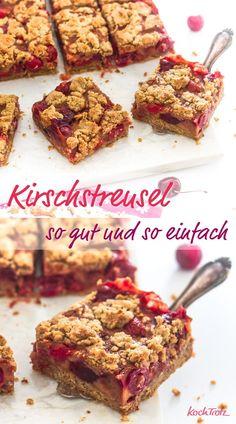 Der beste Kirschstreusel mit zig Varianten! Optional glutenfrei und vegan. #kirschen #rezept #kirschstreusel #glutenfrei #eifrei #vegan #histaminarm