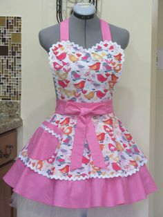 Sweetheart Double Flounce Tweet Birds Apron Full by AquamarCouture, $45.00