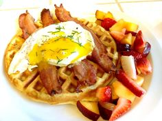 The Evolution of a Foodie: Sour Cream Waffles topped with Bacon and an Egg