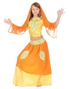Déguisement indienne bollywood enfant : Ce déguisement de princesse indienne pour fille se compose d'une jupe élastique dans le dos de la taille, d'un t-shirt jaune satinéà scratchs dans le dos et...