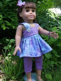 Purple summer blouse and capris outfit/clothes for American girl dolls