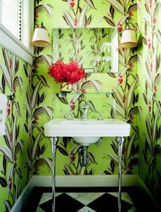 Bright powder room for a beach home - Second Hand Rose wallpaper, sconces - Palm Beach - Thad Hayes