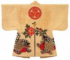paulownia and phoenix design, wool.  Kaji-baori Fireman's jacket. . Edo Period, 18th century.  Worn by Tokugawa Muneharu, Seventh Lord of Owari.