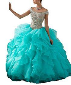 8982a7a05e27 SweetBei Women's Off-the-Shoulder Neckline Sweet 16 Prom Quinceanera Dress 4  Aqua