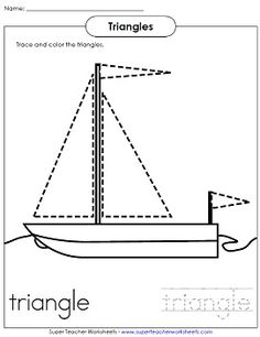 Shape worksheet for young children - Trace the triangles and color the sailboat.