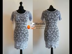 How to crochet grey dress with flower motifs tutorial pattern by marifu6a - YouTube