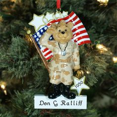Personalized U.S. Army Ornament | Personalized Military Christmas Ornament
