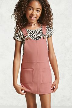 Forever 21 Girls - A knit overall dress featuring adjustable straps, front patch pockets and a scoop neck.