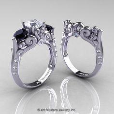 Art Masters Athena 14K White Gold Three Stone CZ Black and White Diamond Modern Antique Wedding Ring Set R515S-14KWGDCZBD