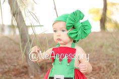 Green Headband Big bow Head wrap Baby Girl Headband by NeAccessory