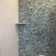 My Favorite But The Moaics Are 19 99 Sq Called Blue Twilight Brick White Tile Is Bathroom Wallwall
