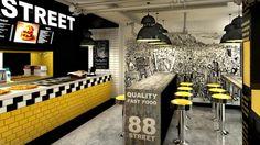 Яркий и стильный дизайн кафе фаст-фуда 88TH STREET в Кракове, Польша