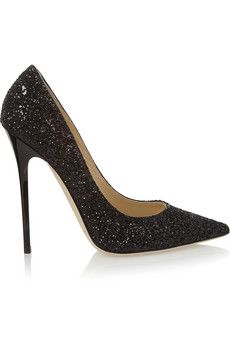 Jimmy Choo Anouk glitter-finished leather pumps   THE OUTNET