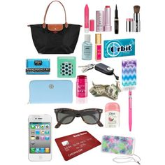 """what's in my long champ"" by cseelhorst on Polyvore"