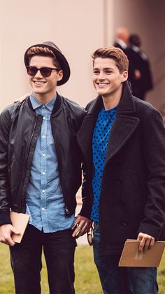 Jack and Finn Harries at the Burberry Prorsum S/S14 show space in London on Tuesday