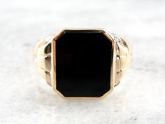 Vintage Men's Ring in Fine Gold Classic Black Onyx by MSJewelers, $365.00