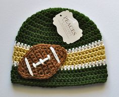 Toddler Hats - Green Bay Packers Football Hat (Kids Hats Child Hats Child Gift Kid Beanies Crochet Hat Toddler Beanies) Needs to be Bronco or Niner Crochet Kids Hats, Crochet Cap, Crochet Beanie, Cute Crochet, Booties Crochet, Knitted Hat, Yarn Projects, Crochet Projects, Crochet Crafts