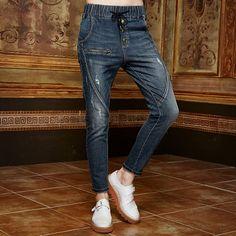 Elf Sack autumn women fashion frayed jeans harem pants female trousers pencil pants| elfsack
