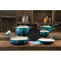 Pioneer Woman Classic Belly 10 Piece Cookware Set Ocean Teal Beauty & Function #THEPIONEERWOMAN