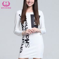 Find More Dresses Information about MYCOURSE 2016 Autumn Casual Women Bodycon Dresses Letters Printed O Neck Long Sleeve Dress Mini Elegant Slim Office Party Tees,High Quality tee club,China tee plain Suppliers, Cheap tee reducer from MYCOURSE on Aliexpress.com